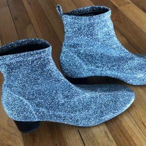 Zara Silver Glitter Sock Stretch Bootie sz 40/9